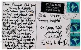 Postal manuscrita para Ringo Starr (1968)