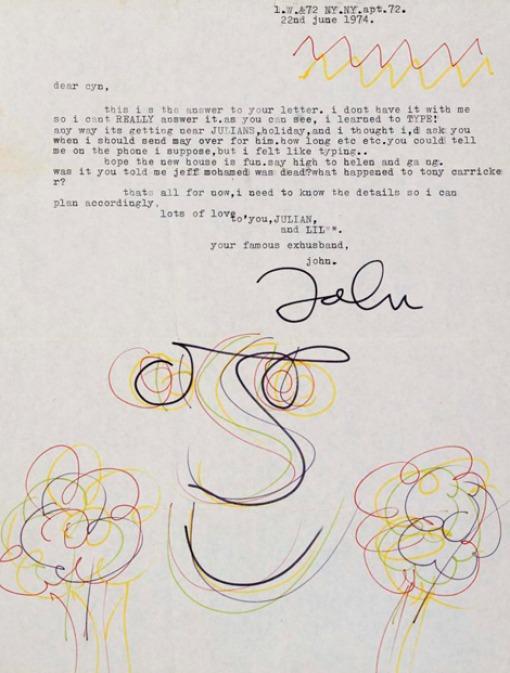 Carta que le escribió John Lennon a Cynthia, su primera esposa.