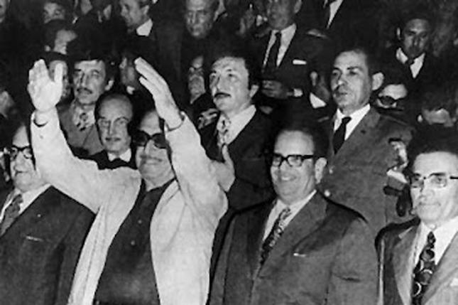 Salvador Allende, Héctor Cámpora, Osvaldo Dorticós Torrado y Oscar Bidegain el 25 de mayo de 1973