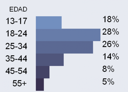 Usuarios argentinos en Facebook según franja etaria.