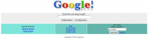 Portada de Google.com en 1998.