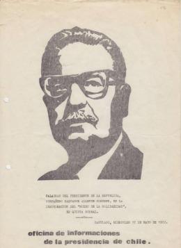 Portada de un discurso de Allende (Foto: Wikimedia)