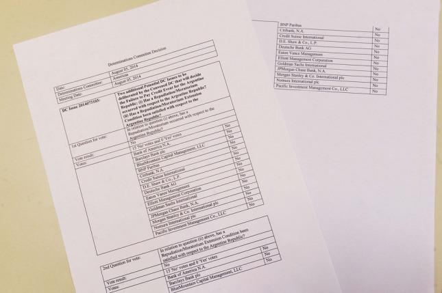Documento sobre la votación de entidades donde se determina que Argentina no está en default