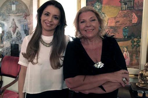 Foto del twitter personal de Carrió en su casa junto a su candidata al Parlasur.