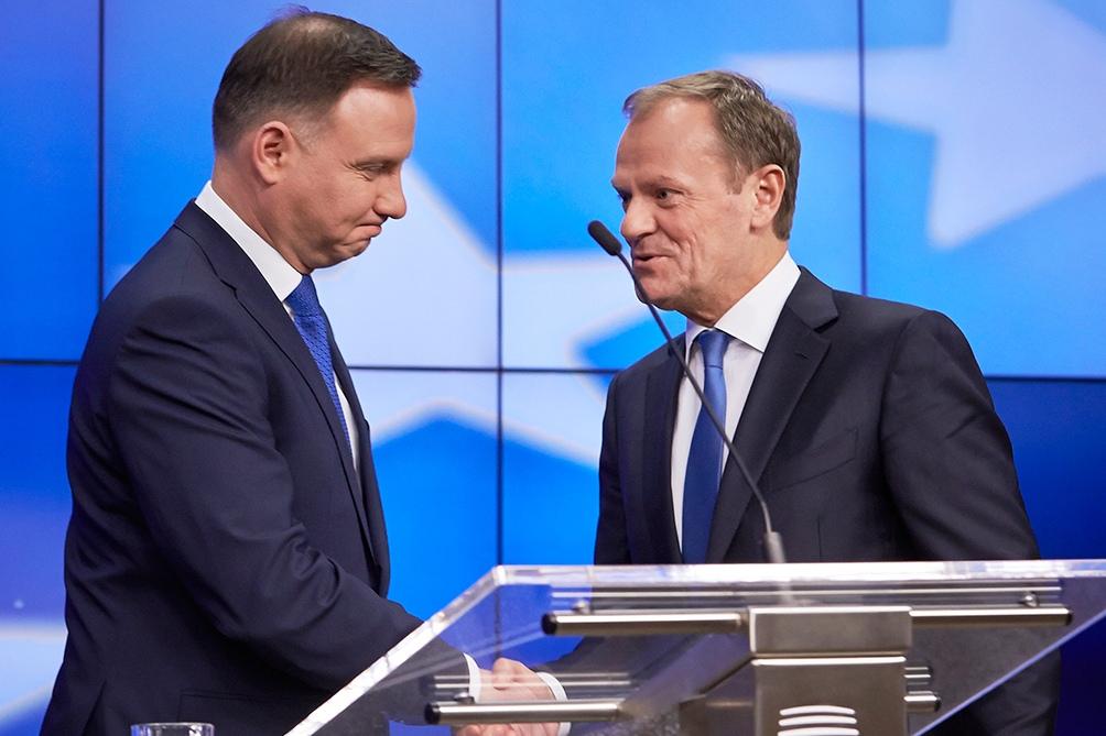 Andrzej Duda y Donald Tusk en Bruselas