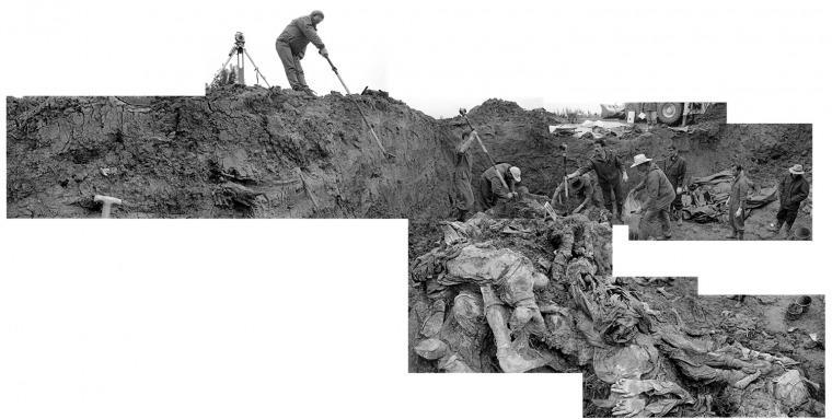 Osteobiografías: Fosa común. Pilica farm, Bosnia.1996. Investigación del Tribunal Criminal Internacional. Foto: Gilles Peress.Gentileza Proa