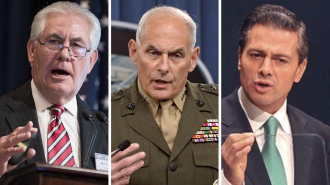 Rex Tillerson, John Kelly y Enrique Peña Nieto