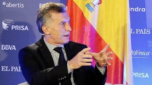 """Macri en España: """"Argentina va a crecer este año, pero el desafío es crecer 20 años"""""""
