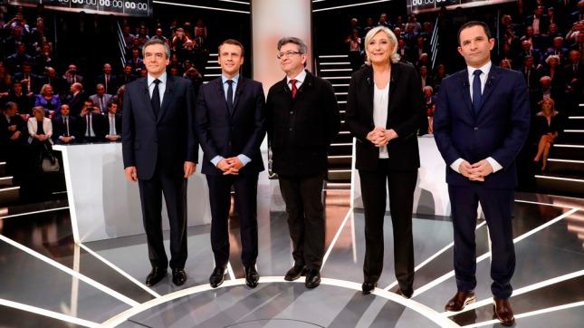 Los candidatos: Fillon, Macron, Mélenchon, Le Pen y Hamon