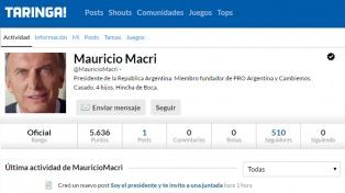"Macri abrió una cuenta en Taringa e invitó a ocho personas a una ""juntada presidencial"""