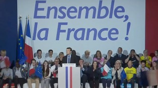 """Bajo el lema """"¡Juntos Francia!"""", Macron presentó su nuevo eslogan de campaña"""