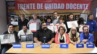 Docentes bonaerenses anunciaron una jornada provincial de protesta sin paro para el viernes