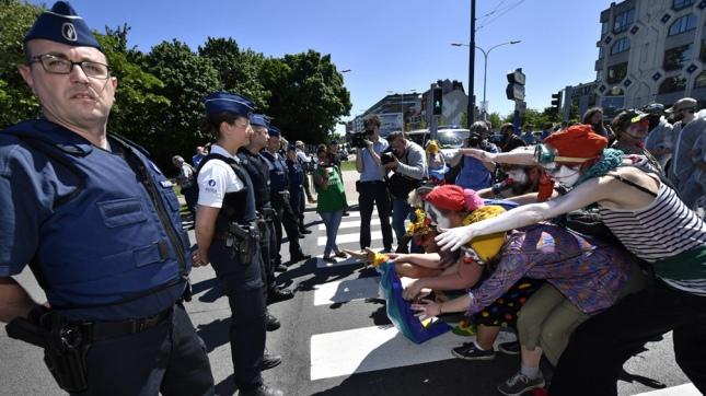 Protestas en Bruselas. Foto: Xinhua