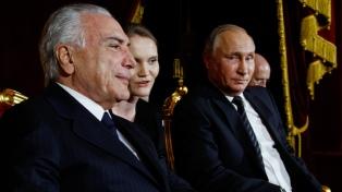 Putin dijo que Temer podrá abordar todos los aspectos de las relaciones bilaterales