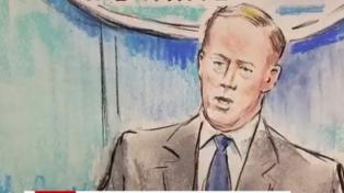 La CNN envió un dibujante a una conferencia de prensa en la Casa Blanca porque se prohibieron las cámaras