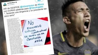 Centurión no jugará en Boca y cargó duramente contra Angelici