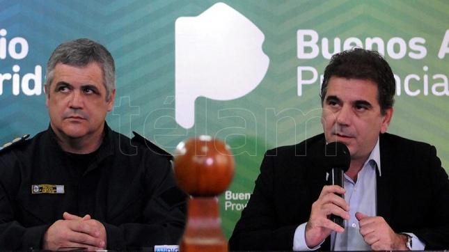 Cristian Ritondo, ministro de Seguridad bonaerense, en conferencia de prensa