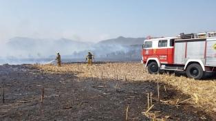 Bomberos combaten un incendio en las sierras de Córdoba