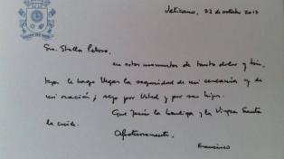La familia Maldonado publicó la carta que el Papa le envió a la madre de Santiago