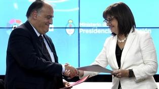 El Ministerio de Seguridad y la Liga de España firmaron un convenio de lucha contra la violencia