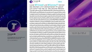 Dos usuarios lograron postear un tuit de 35.000 caracteres