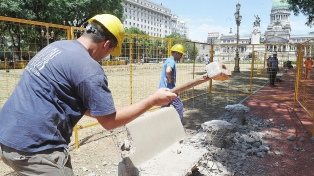Finaliza la reconstrucción de la Plaza del Congreso tras los destrozos en las marchas de diciembre