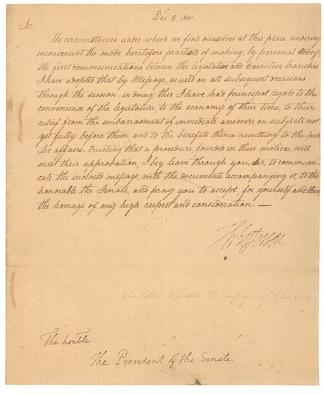 La carta con la que Jefferson realizó su mensaje anual en 1801.