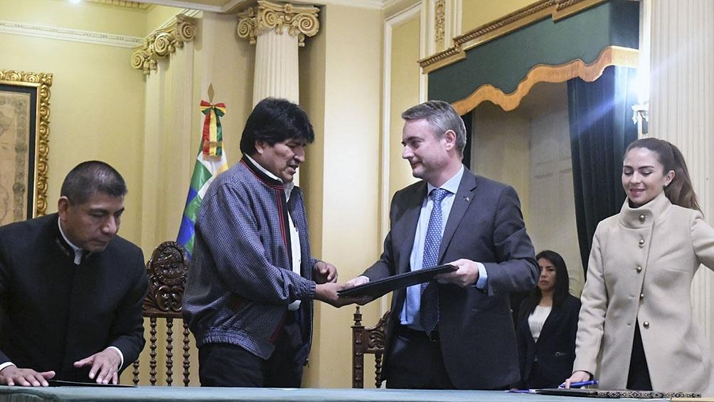 Evo Morales y el jefe de la Delegación de la UE en Bolivia, León de la Torre.