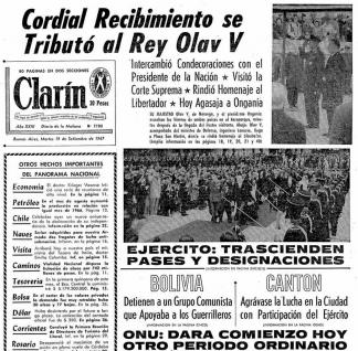 Tapa de Clarín del 19 de septiembre de 1967.