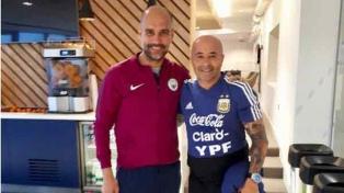 Sampaoli se encontró con Guardiola en Manchester