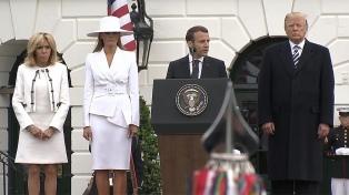 Trump recibió a Macron con honores militares frente a la Casa Blanca