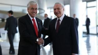 Temer y Piñera anuncian impulso a acuerdo de libre comercio entre sus países