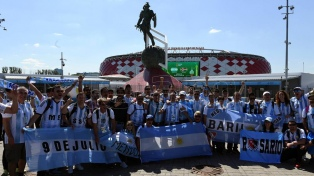 El color y la alegría del debut argentino ante Islandia en Moscú
