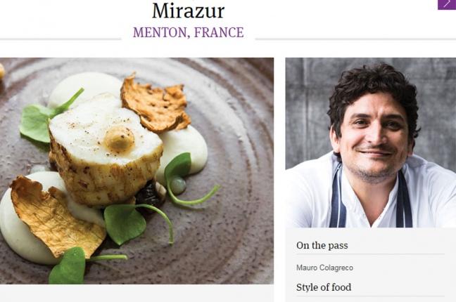 Mirazur, de Colagreco, tercero entre los 50 mejores restaurantes del mundo