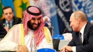 """Putin y Mohamed bin Salman """"chocan los cinco"""" en el plenario de la cumbre"""