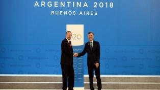 Macri agradeció a Erdogan el apoyo de Turquía para el ingreso argentino a la OCDE