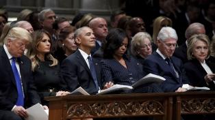 Trump, ex presidentes y líderes mundiales participan del funeral de Bush padre