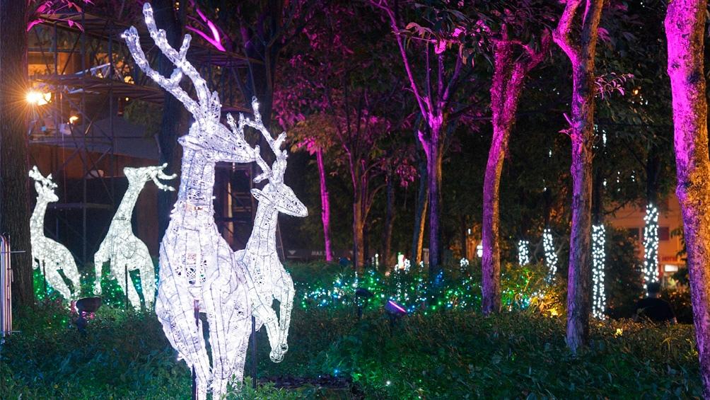 Singapur.Un bosque de renos esperando a Santa Claus.