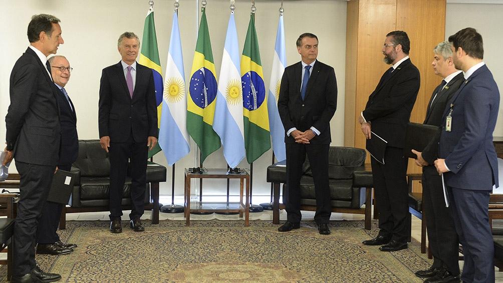 Encuentro entre los presidentes y los cancilleres de ambos países.