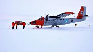Finalizó con éxito el primer vuelo que unió la Base Marambio con la Belgrano II