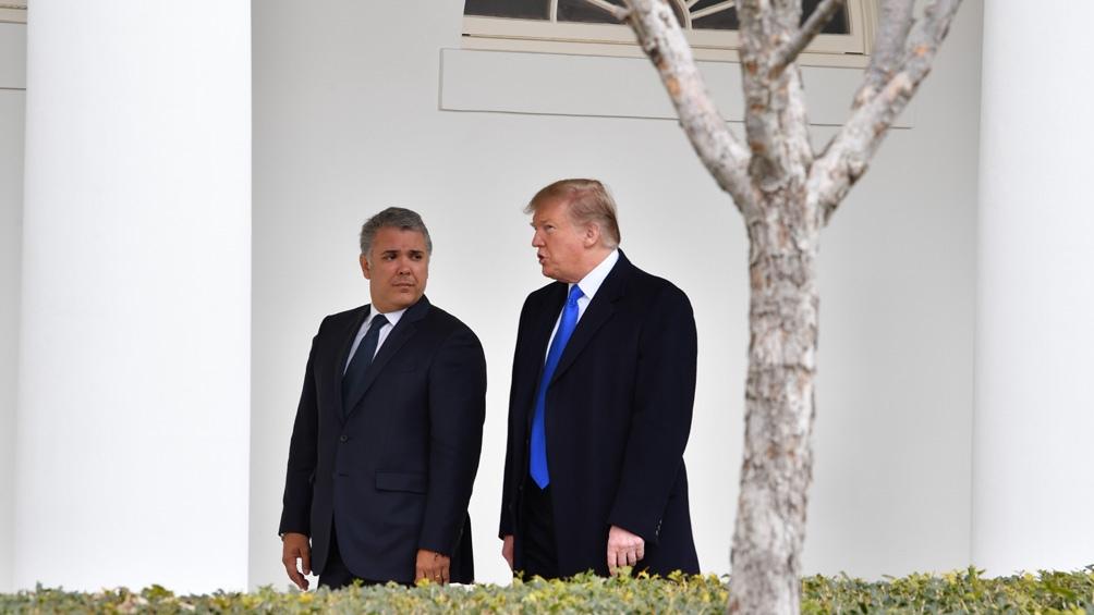 El presidente colombiano Iván Duque y su colega estadounidense Donald Trump