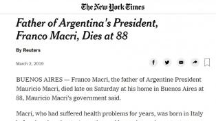 Repercusiones en los medios del mundo por la muerte de Franco Macri