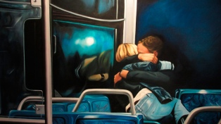 De figuras irónicas a escenas de cine, en la exposición de pinturas de Eduardo Cetner
