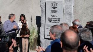 Inauguran una autovía y un puente en Carlos Paz, que llevará el nombre de José Manuel de la Sota