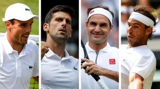 Djokovic, Federer y Nadal se clasificaron a las semifinales de Wimbledon