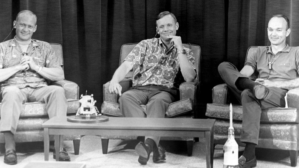 15/7/1969. El día previo a la partida, la última sesión de fotos. Sonrientes y distendidos, ALdrin, Armstrong y Collins.