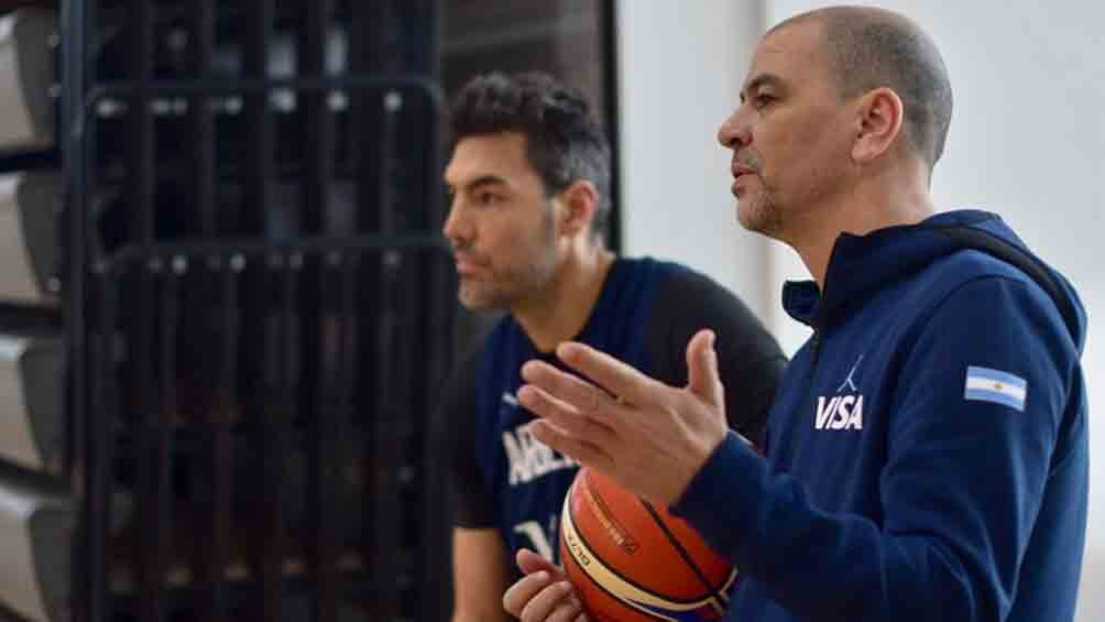 Hernández y Scola en Bahía Blanca, durante los entrenamientos para los Panamericanos de Lima 2019 (foto: Prensa CABB)