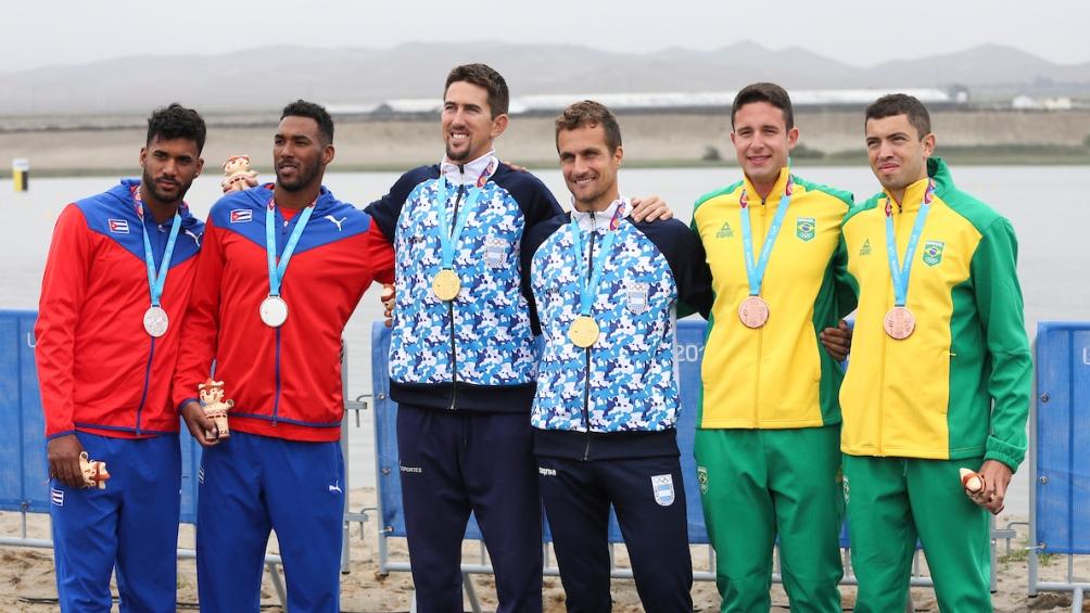 Con un tiempo de 6:25.16 postergaron a las duplas de Brasil (bronce) y Cuba (plata).