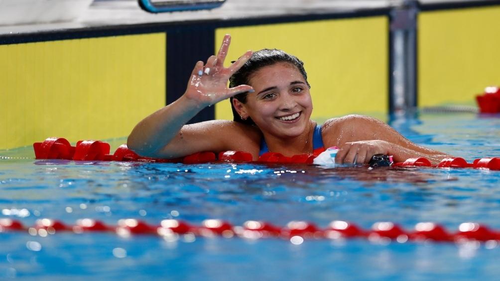 Delfina Pignatiello ganó en 1500 metros libres, su tercera medalla de oro en Lima.