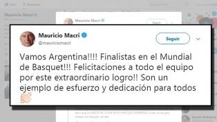 Macri felicitó al seleccionado de básquetbol, que es finalista